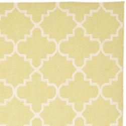 Moroccan Light Green/ Ivory Dhurrie Wool Rug (6 Square)