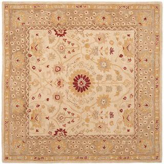 Handmade Timeless Ivory/ Sand Hand spun Wool Rug (8 Square