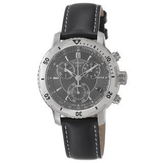 Tissot Mens PRS 200 Black Chronograph Dial Black Strap Watch