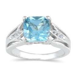Sterling Silver Blue Topaz and Diamond Antique Ring