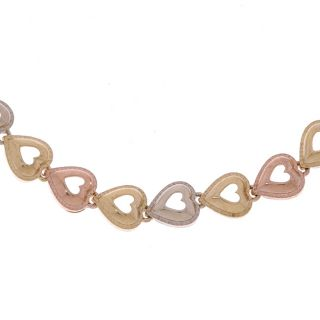 14k Tri tone Gold Heart Bracelet