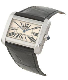 Cartier Divan Womens Midsize Black Strap Watch