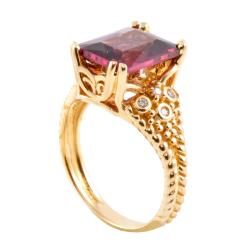 Michael Valitutti 14k Gold Rhodolite Garnet and 1/10ct TDW Diamond