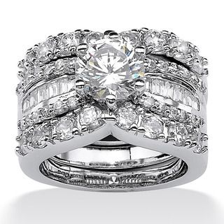 Ultimate CZ Platinum over Silver Cubic Zirconia Wedding Ring Set