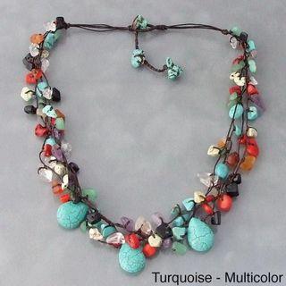 Cotton Rope Multicolor Gemstone Teardrop Necklace (Thailand