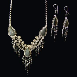 Alpaca Silver Handmade Gala Onyx Jewelry Set (Peru)