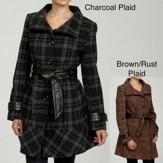 LNR by La Nouvelle Renaissance Womens Plaid Funnel neck Belted Coat