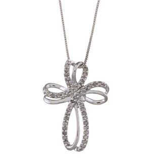 Sterling Silver 1/4ct TDW Diamond Cross Necklace (J K, I3)
