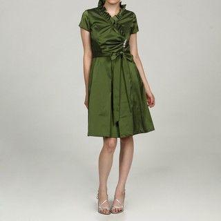 Julian Taylor Womens Taffeta Ruffle and Rhinestone Dress