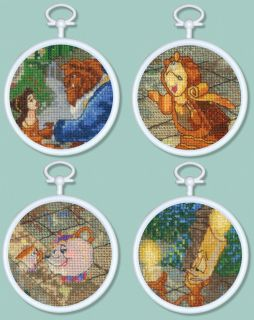 Beauty & The Beast Mini Vignettes Counted Cross Stitch Kit 3 Round 16