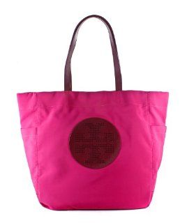 Tory Burch Billie Shopper Nylon Large Tote Handbag Fuschia: Shoes