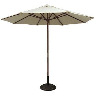 Natural White Leather Tip Market Umbrella with 50 pound Stand