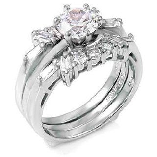 Seductive Sterling Silver Wedding Ring Set with Detachable