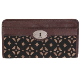 Fossil Womens Maddox Leather Zip Clutch Wallet