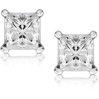 14k Gold 2ct TDW Princess cut Diamond Stud Earrings (G, VS