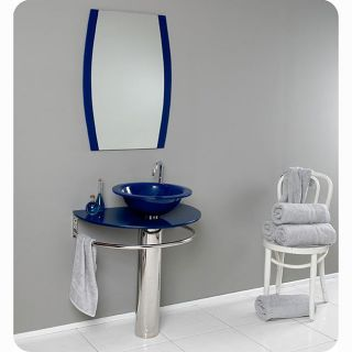 Fresca Scoperto Blue Glass Bathroom Vanity
