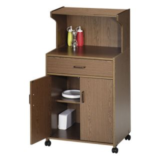 Double Microwave Cart, 25x20x49, Medium Oak