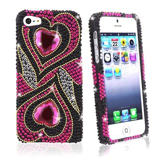 BasAcc Hot Pink Hearts Diamond Snap on Case for Apple iPhone 5