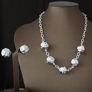 Handcrafted Alpaca Silver Beads Necklace and Earrings Set (Mexico