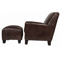 angeloHOME Baxter Brown Renu Leather Arm Chair and Ottoman