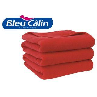 BLEU CALIN Couverture polaire ROUGE RUBIS 220x240   Achat / Vente