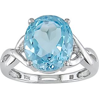 Miadora 10k White Gold Sky Blue Topaz and Diamond Ring