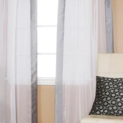 Best Home Fashion Dupioni Border Sheer Voile Tab Top Curtain Pair