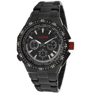 Red Line Mens Travel Black Ion plated Stainless Steel Watch