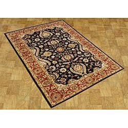 Taj Mahal Handmade Black Wool Rug (8 x 10)