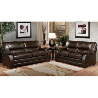 Abbyson Living Wilshire Premium Top grain Leather Sofa and Loveseat