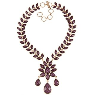 Amrita Singh Goldtone Amethyst Resin Bib Necklace