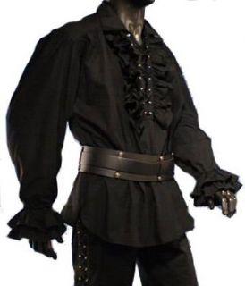 Baumwollhemd Rüschenhemd Hemd Gothic Gr. S XXL, weiss, schwarz