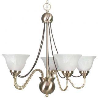 Satin Brass 5 light Chandelier with Alabaster Glass