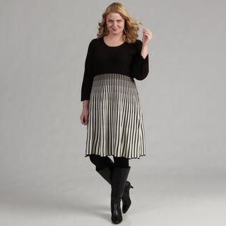 Calvin Klein Womens Plus Size 2 pc Striped Dress