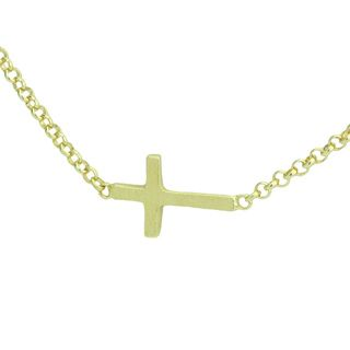 Dogered Gold over Silver Whispers Sideways Cross Necklace (18 inch