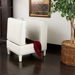 Christopher Knight Home Felice Armless White Bonded Leather Club Chair