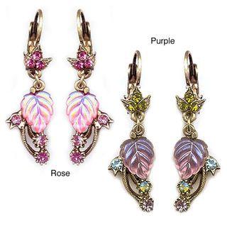 Sweet Romance Iridescent Glass Leaf Earrings