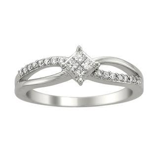 14k White Gold 1/4ct TDW Princess Diamond Engagement Ring (H I, I2