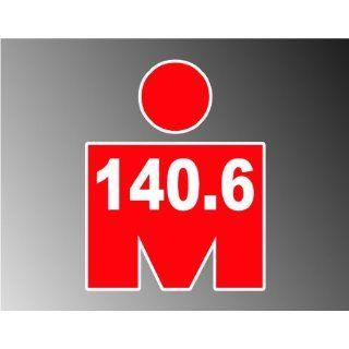 RED Mdot Ironman Triathlon 140.6 Vinyl Decal Bumper