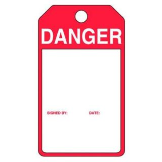 Accuform Signs MPMTS08PTP Danger Tag, 5 7/16 x 3 1/16 In, R/Wht, PK25