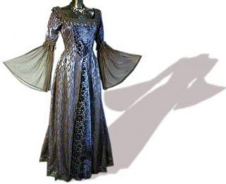 Mittelalter Gothic Kleid,Spitze/Samt, lang, blau, Größe XXL