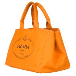 Prada B1872B Orange Canvas Tote Bag