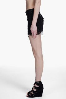 Haute Hippie Suede Fringe Miniskirt for women