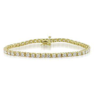 Miadora 14k Yellow Gold 4ct TDW Diamond Tennis Bracelet (G H, I1