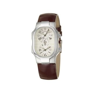 Philip Stein Womens Signature Stainless and Leather Quartz Watch