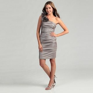 Hailey by Adrianna Papell Womens Taupe One shoulder Ruffle Dress