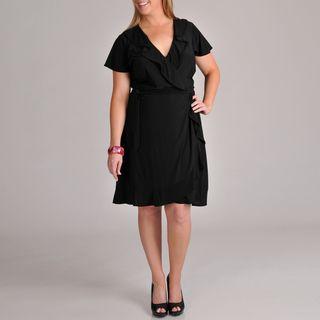 Tiana B Womens Plus Size Ruffle Edge Wrap Tie Dress