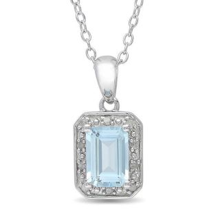 Sterling Silver Blue Topaz and Diamond Accent Necklace