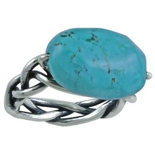 Southwest Moon Sterling Silver Woven Band Turquoise Nugget Ring