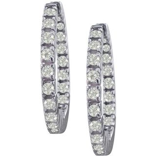 14k White Gold 3/4ct TDW Diamond Inside out Hoops (I J, I1